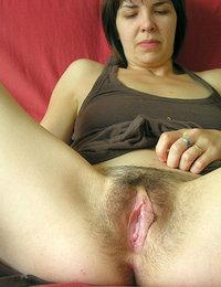 bushy pussy nude wide open