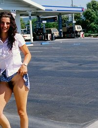 Curly Long Legged Teen with Big Brown Nipples and Hairy Pussy Has Fun Flashing Her Naked Body Parts in Public